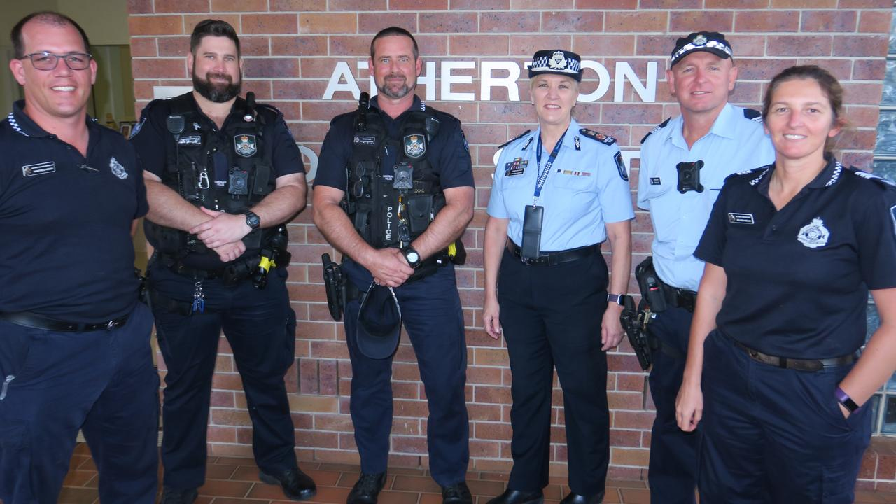 Acting Sen-Constable Jason Visini (second from left) with Atherton police colleagues Sgt Winfried Weiss, Constable Adrian Niemann, Assistant Commissioner Katarina Carroll, Acting Sgt Belinda Welsh and Sgt Greg Lee. Picture: David Anthony