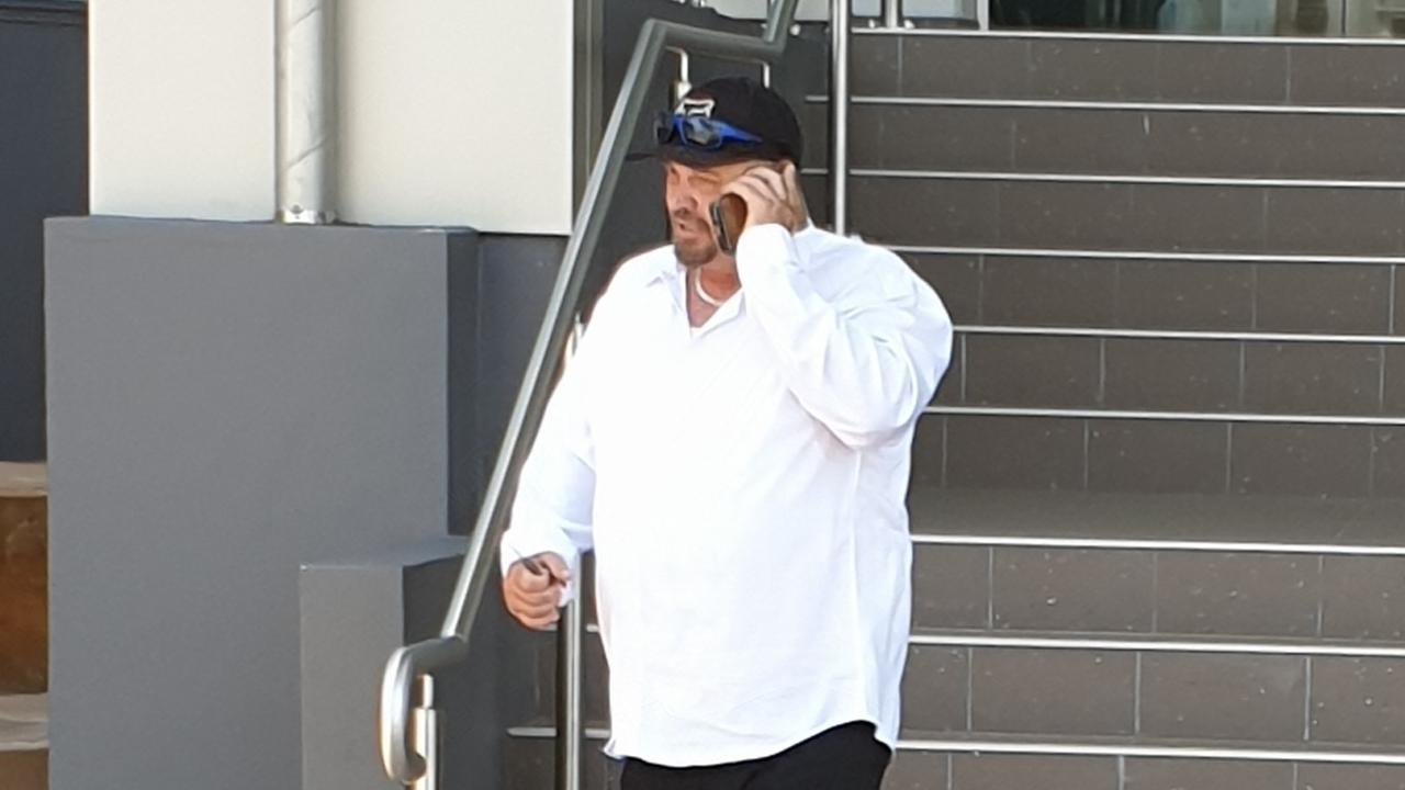 Raymond Jarvis leaves Rockhampton courthouse during day one of the trial of Daniel John Shields.