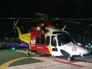 Helicopter transports man in induced coma after crash