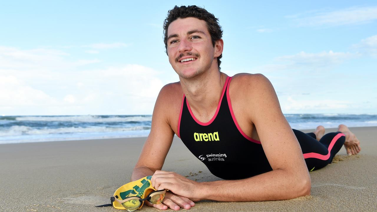Kawana Waters open water swimmer Bailey Armstrong was one step away from achieving dream Olympic selection but will now have to start his qualification process from scratch again next year for the postponed Games. Picture: Patrick Woods.