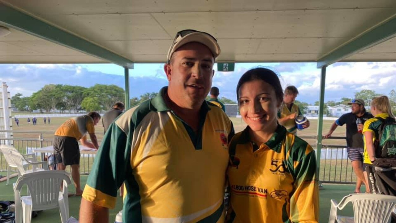 Steve Sammut and daughter Isabella, 14, played together for the first time with Pioneer Valley Gold in Mackay Cricket Third Grade.