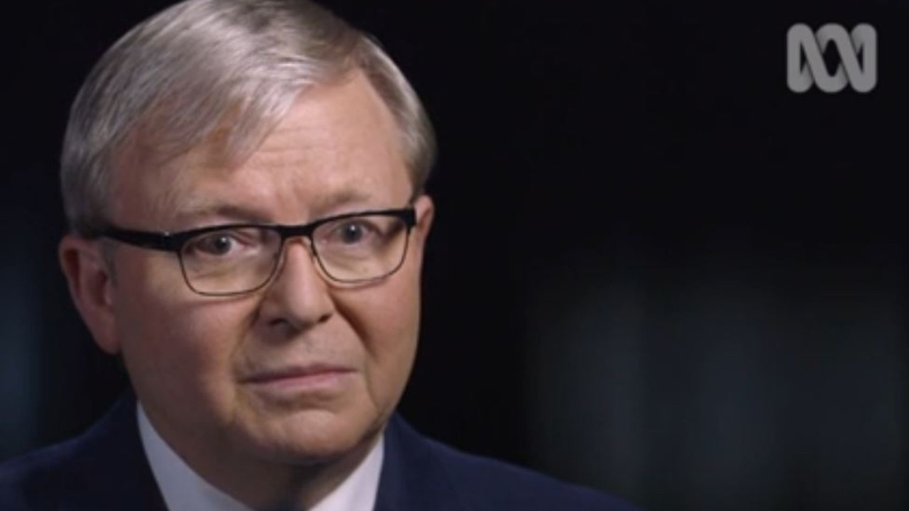 An ABC video-still of The Killing Season, where Julia Gillard accuses Kevin Rudd of physically intimidating her when she was his deputy. Picture: ABC