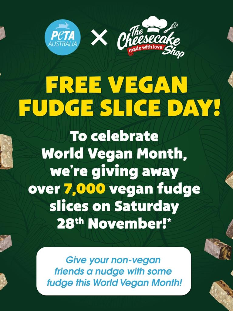The Cheesecake shop partnered with PETA to celebrate World Vegan Month. Picture: Contributed