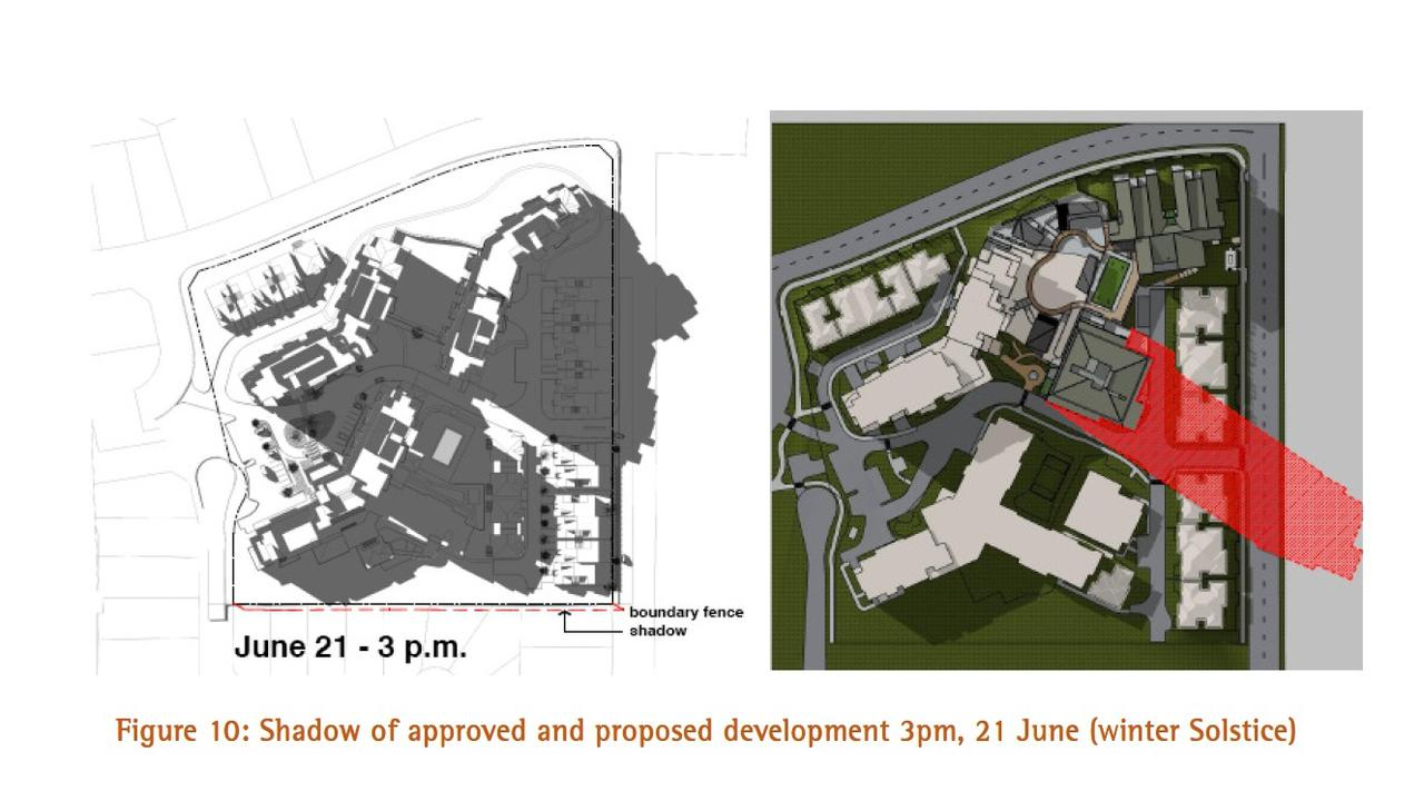 An image showing the overshadowing effects of the old Building A/B and the proposed new 11 storey Building B development at the Shoreline Park Beach. Image: Bennell and Associates