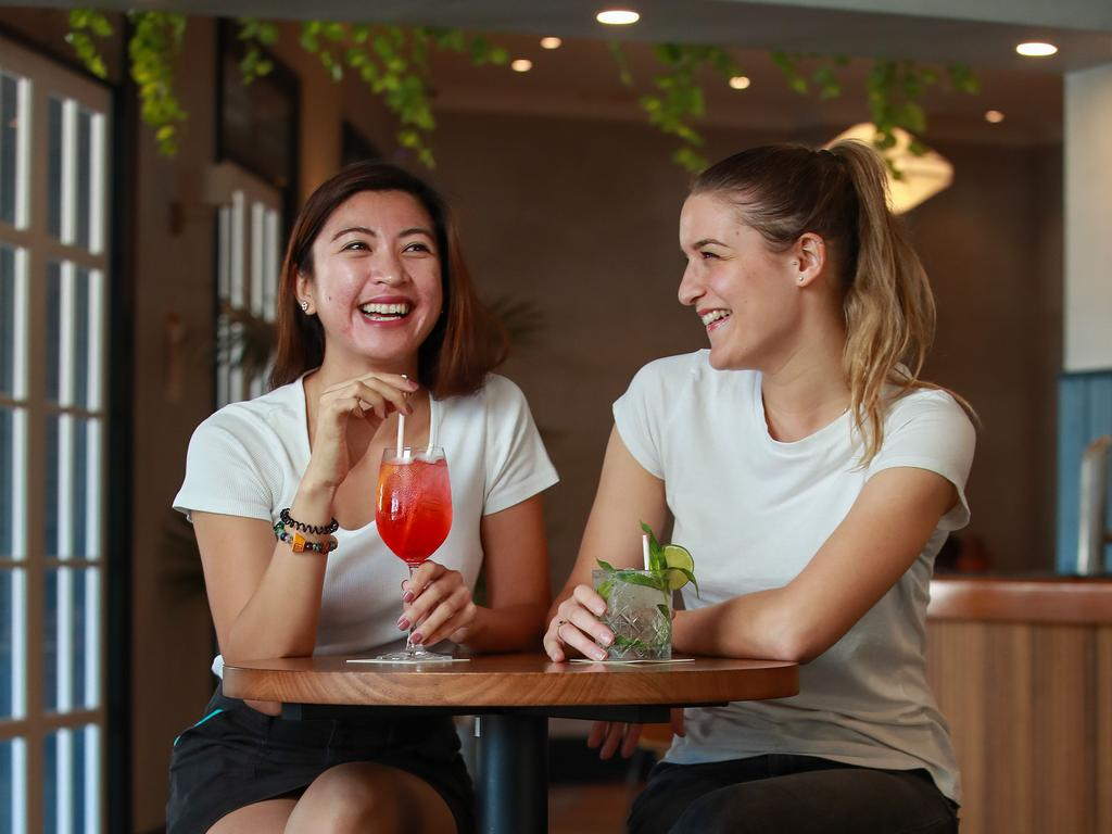 Maddy and Dafne enjoying a drink at the Woolloomooloo Bay Hotel, yesterday Picture: Justin Lloyd