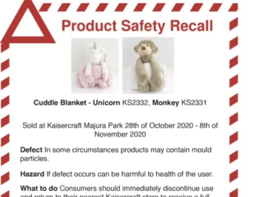 A Kaisercraft children's blanket is being recalled due to contamination