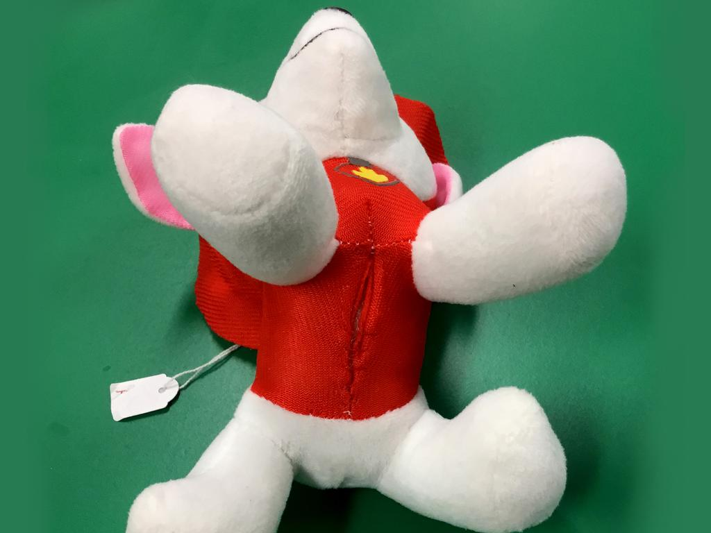 This Paw Patrol toy (not official merchandise) released stuffing from seams and on back and stomach. Image: Supplied
