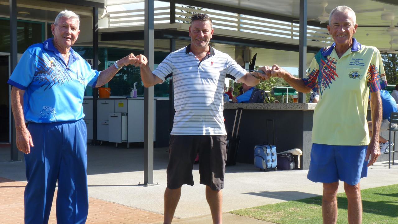 Winners of the Adam Hart Farewell Open Pairs: John Deale and Greg Dickman with Adam Hart (centre)