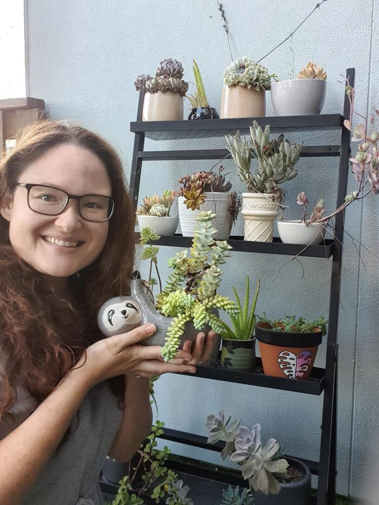 Michelle Warren pictured with her pot plants. Picture: Supplied.