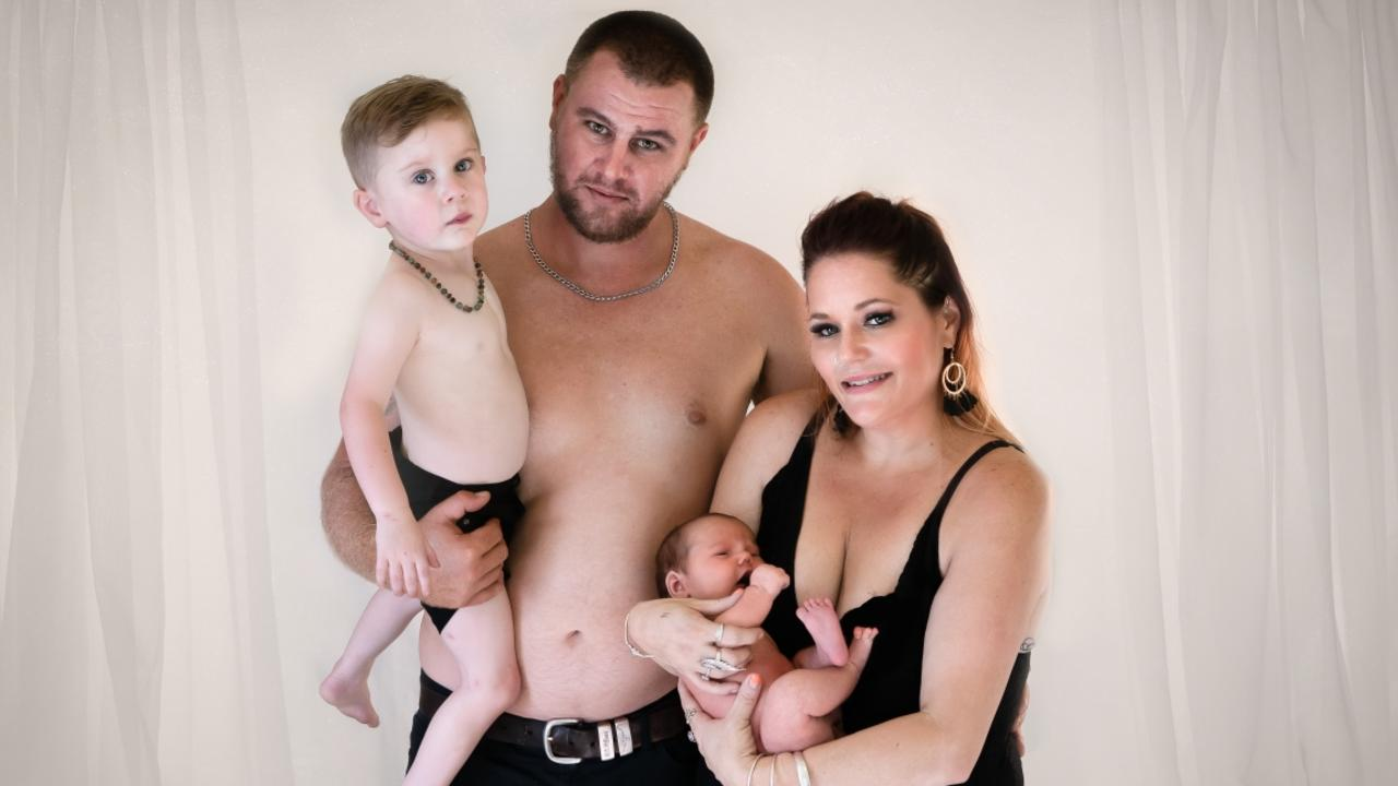 Samson Farkas, 3 with dad Jason Farkas, mum Renee McIntosh and younger brother Cruiz, nine months. Picture: Supplied