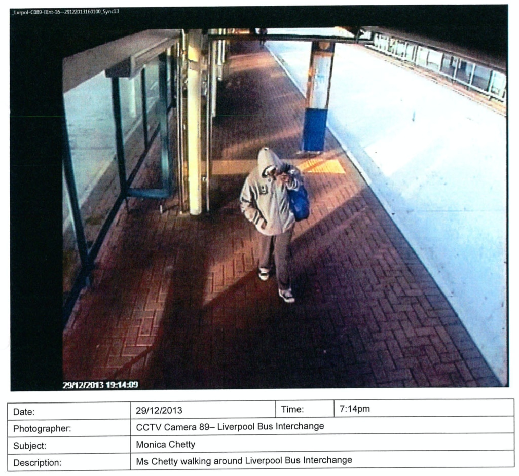 Ms Chetty on December 29, 2013, at Liverpool bus interchange, five days before she was discovered by police in West Hoxton. Picture: Supplied by NSW Coroner's Court