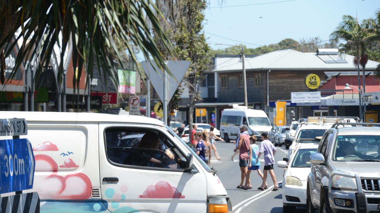 Heavy traffic in Byron Bay on Monday, November 23, 2020. Picture: Liana Boss