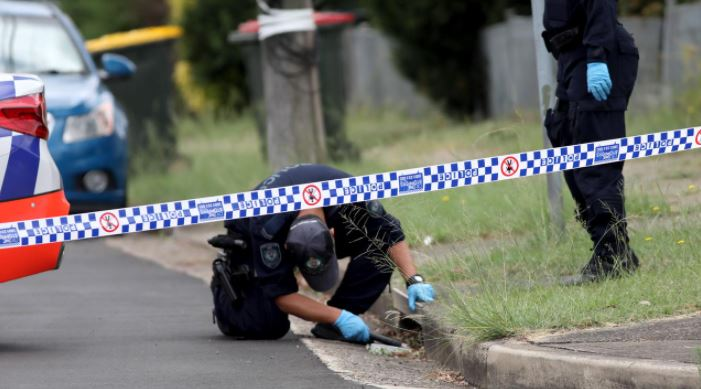 Police officers search Rymill Road in Tregear on Monday. Picture: NCA NewsWire / Damian Shaw