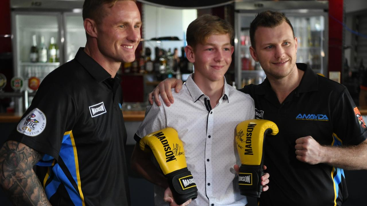 Torin O'Brien and Jeff Horn advocate for AMAYDA'S school bullying program.