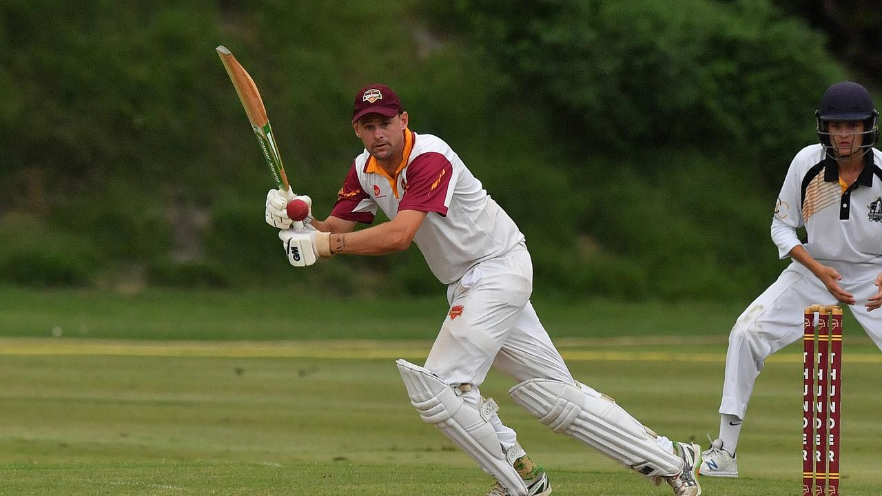 Tewantin/Noosa's Jarrod Officer hit 100 not out on the weekend. Picture: John McCutcheon / Sunshine Coast Daily
