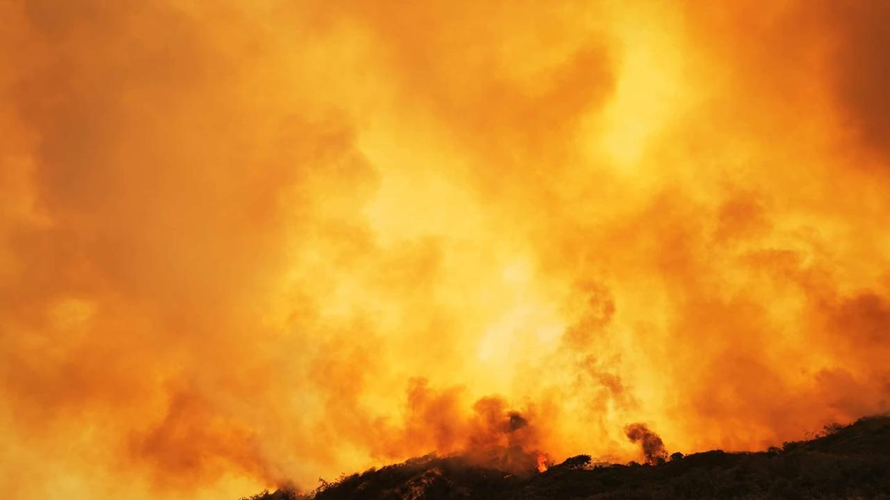 Fire burning on Fraser Island Monday morning.