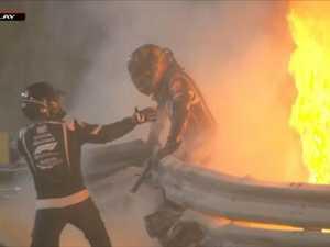 F1 crash sparks HUGE fire