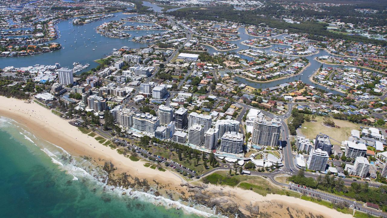 Aerial view over Mooloolaba Beach. Photo Lachie Millard