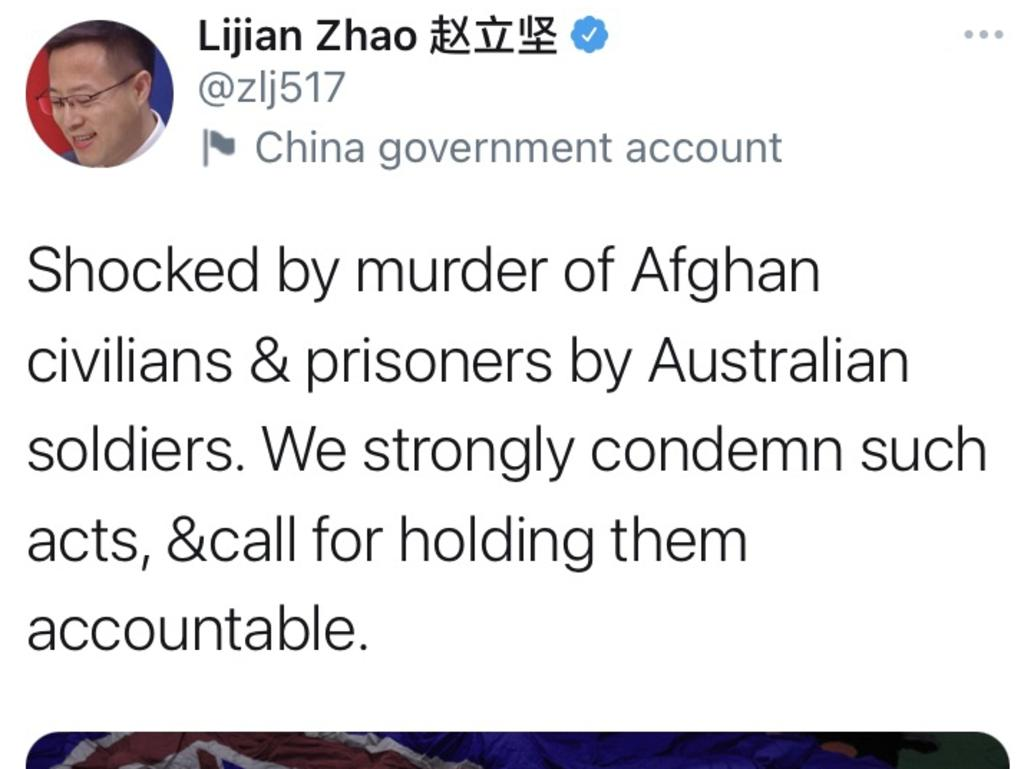 Tweet from Lijan Zhao flagged as the China Government Account