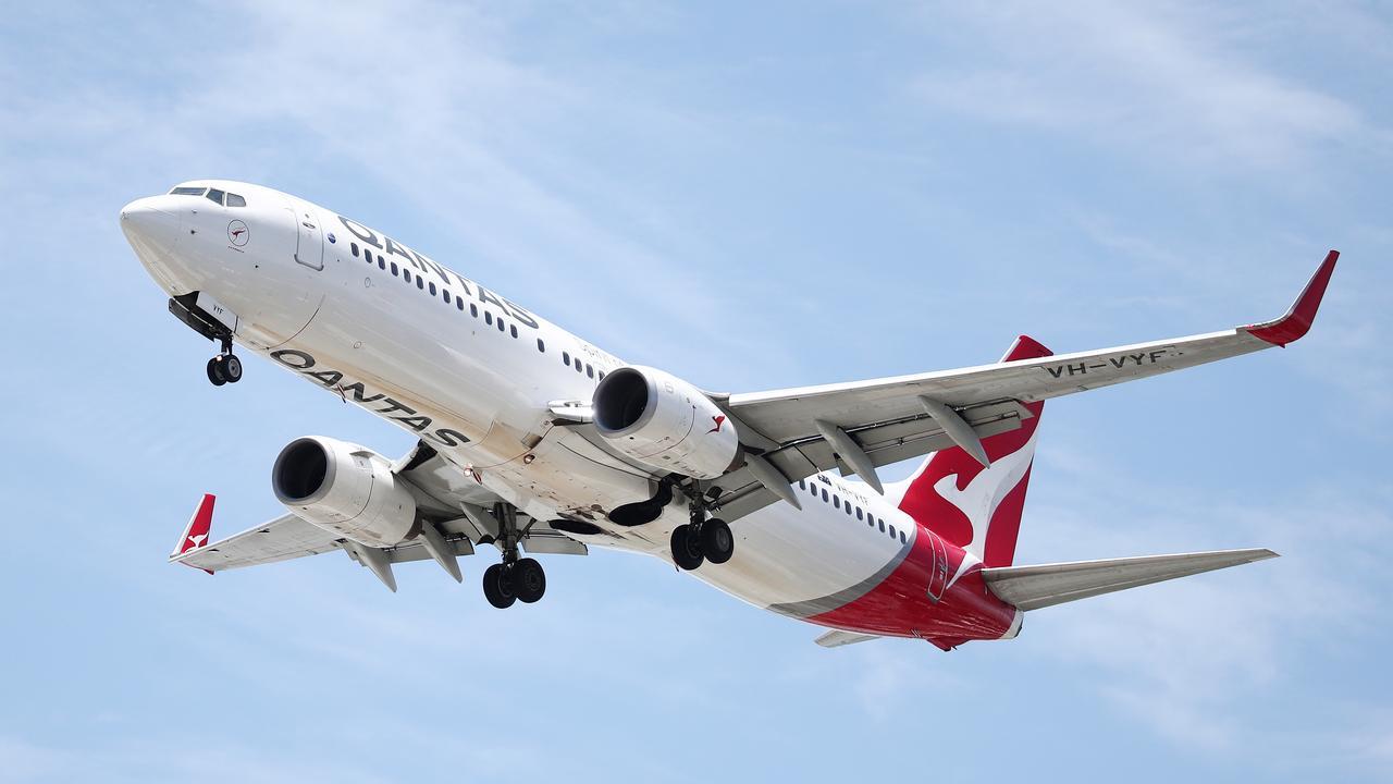 A Qantas 737 commercial passenger jet in Far North Queensland. Picture: Brendan Radke