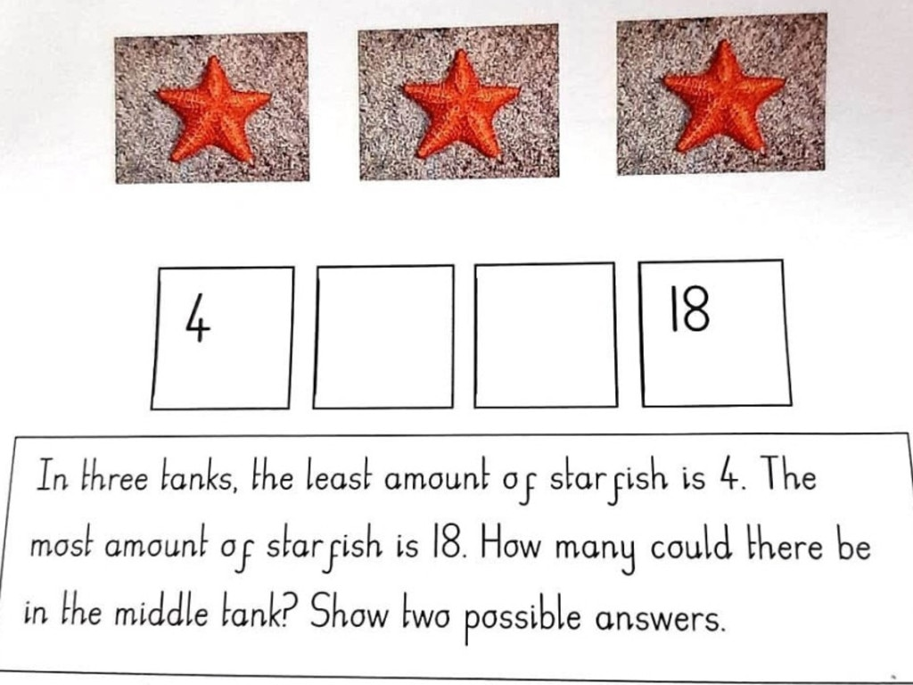 A baffled mum has asked internet for help with 6-year-old daughter's maths question. Picture: Facebook/FamilyLockdownTipsandIdeas