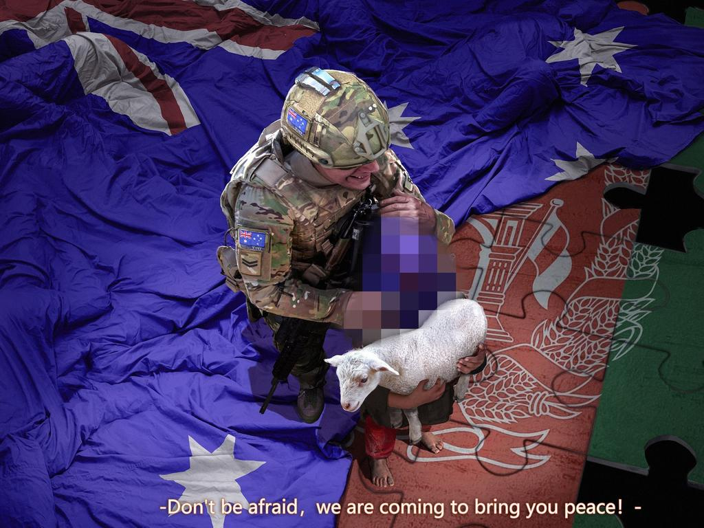 Beijing's foreign ministry spokesman Zhao Lijian posted this falsified image of an Australian soldier slitting the throat of a child and said China condemned the murder of Afghan civilians