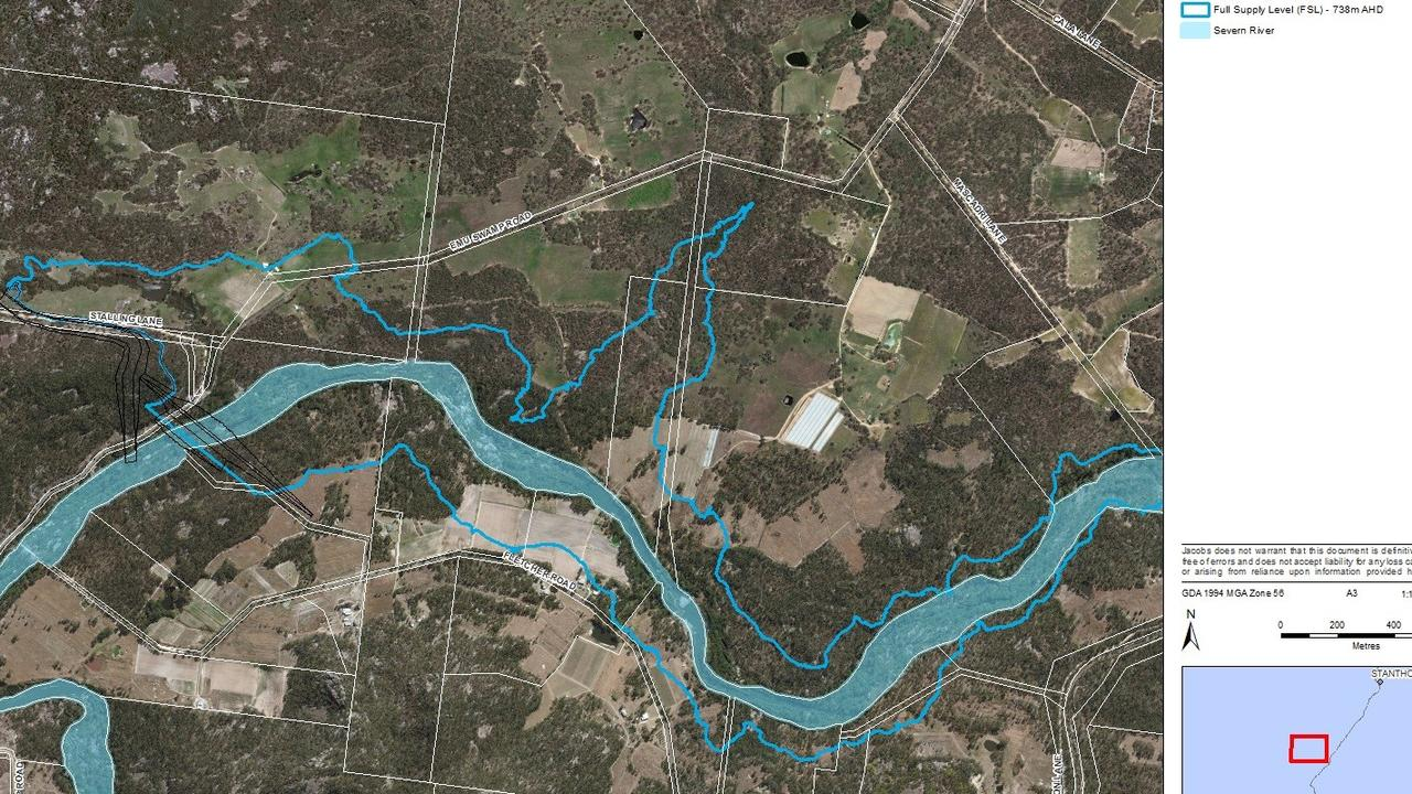 Emu Swamp Dam plans. The thin blue line indicates where the outline of the dam will be.