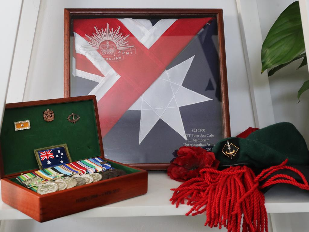Memorabilia and medals belonging to Pete Cafe who served in Afghanistan and was awarded the Meritorious Unit Citation for his services. Picture: Richard Dobson