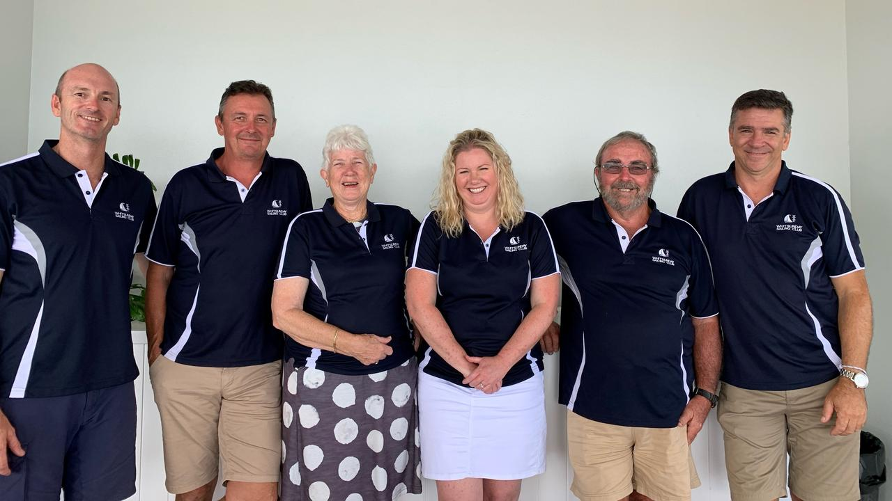 The Whitsunday Sailing Club board (from left) Mark Beale, Terry Archer, commodore Heather Sutton, treasurer Lisa Mitchell, rear commodore offshore Kevin Foggarty and president Leo Rodriguez. Absent: Board member Clayton Matthews. Picture: Supplied