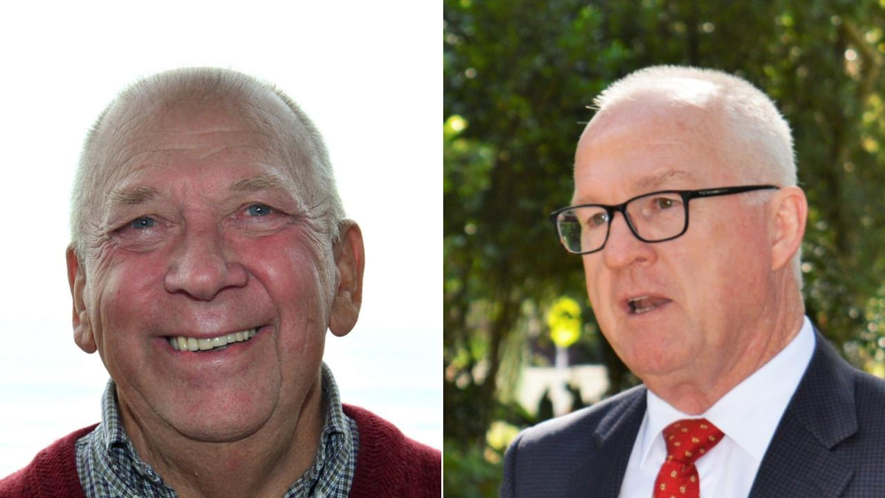 Mooloolaba Chamber of Commerce president Graeme Juniper, left, and Mayor Mark Jamieson have faced off over paid parking plans.