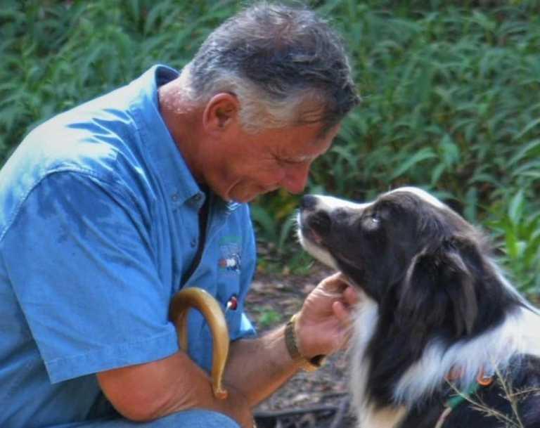 Sheep Herding for City Dogs trainer John Borg with dog Smokey.