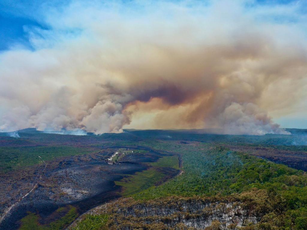 Drone stills taken by Glen Winney of the fire burning on Fraser Island Picture Facebook/Glen Winney