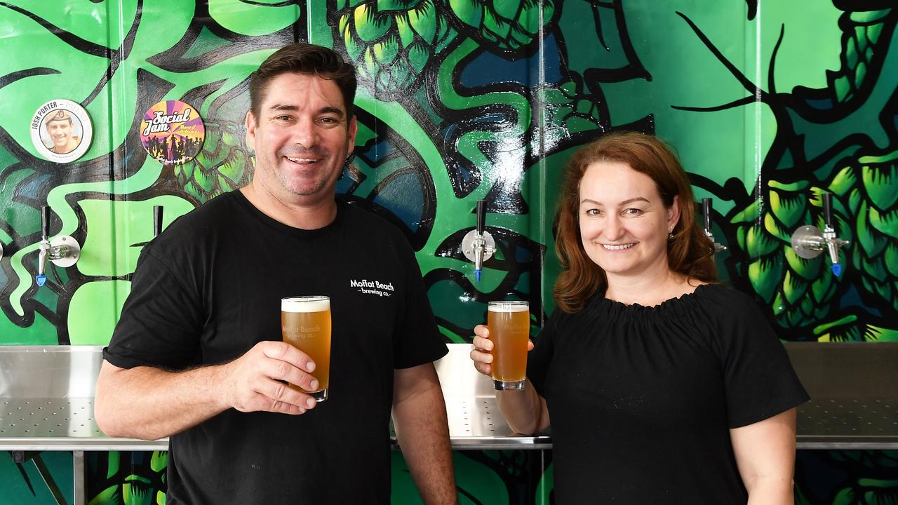 Owners Matt and Sharynne Wilson of Moffat Beach Brewing Co. Picture: Patrick Woods.