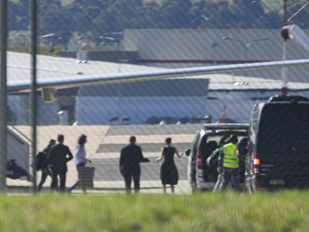 Passengers, including British-Australian academic Dr Kylie Moore-Gilbert disembark an Australian Government jet at Canberra Airport. Picture: AAP