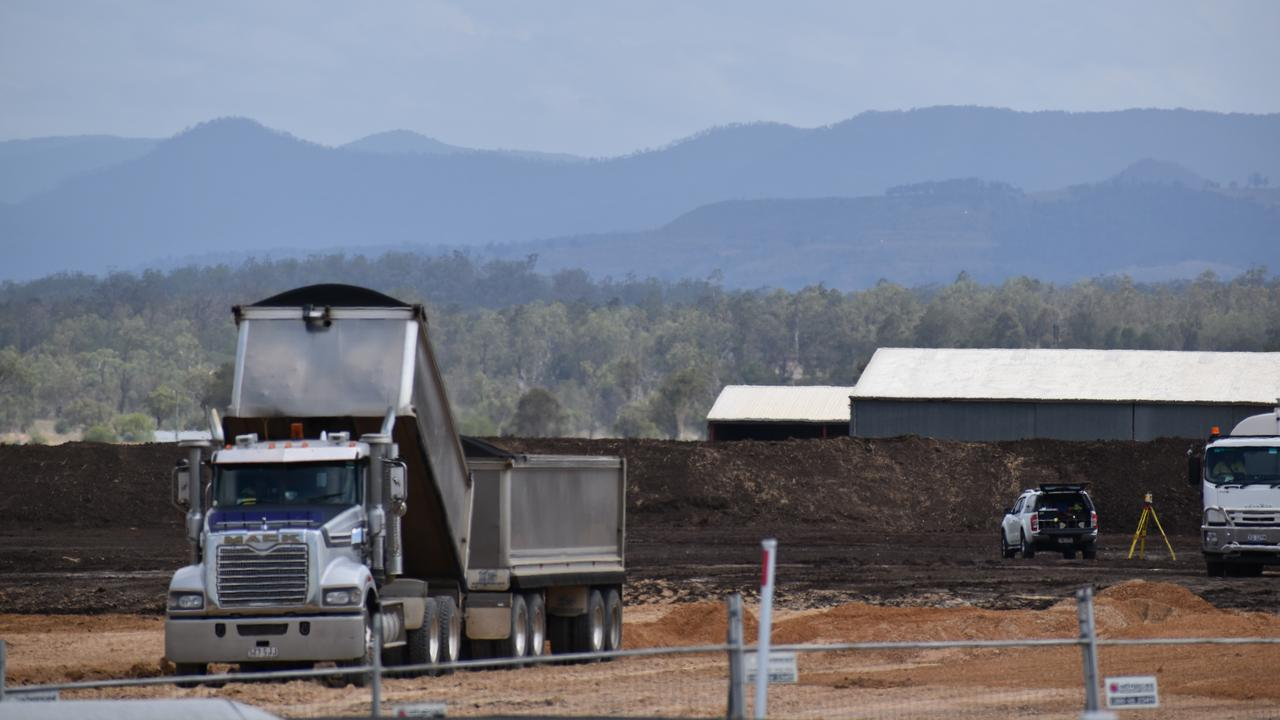 Works underway on new Heavy Vehicle Decoupling Facility, Gatton. Photo: Hugh Suffell