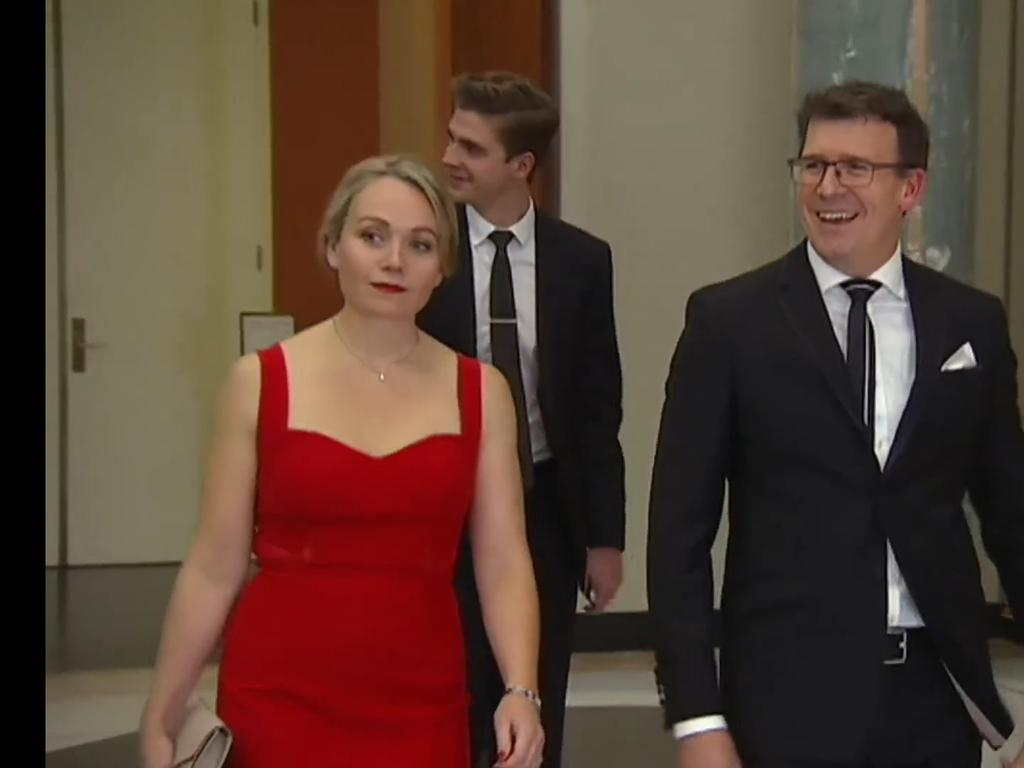Federal member of Parliament Alan Tudge arrives at the 2017 Mid-Winter Ball in the company of Liberal staffer Rachelle Miller who he was having an affair with.