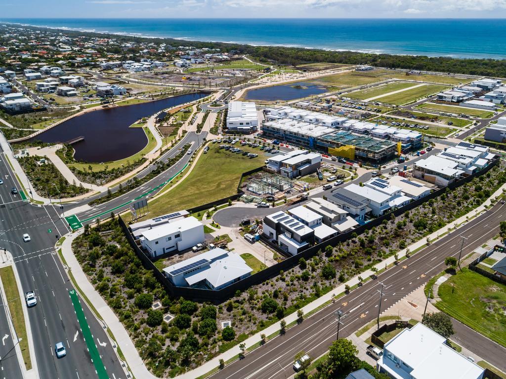 Aerial views of the Bokarina Beach development.