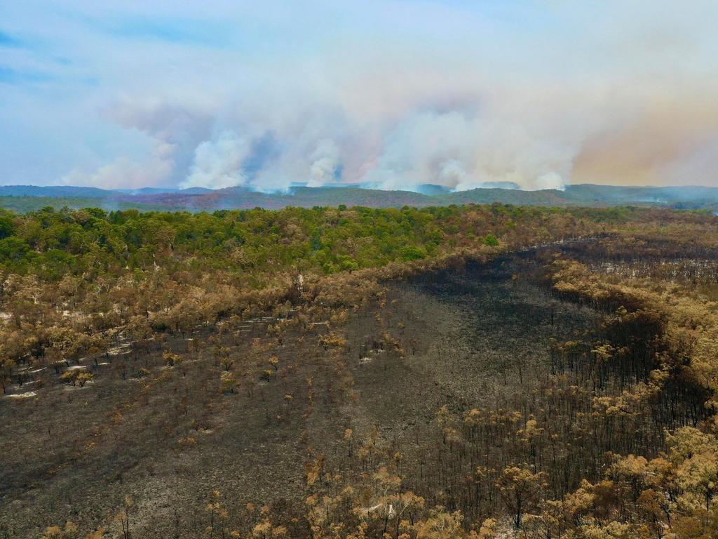 Drone stills taken by Glen Winneys of the fire burning on Fraser Island Picture Facebook/Glen Winney