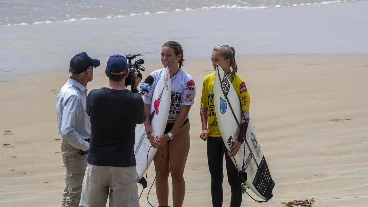 Local surfers Bonnie Hills and Rosie Smart at the inaugural Coffs Harbour Open at Diggers Beach. Photo: Ethan Smith / Surfing NSW