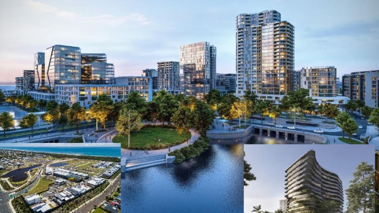 A report has predicted the Sunshine Coast will be home to 515,000 people by 2033, with an economy worth $33 billion. Major infrastructure projects like the Maroochydore CBD (main), Bokarina Beach development (left) and Aria Mooloolaba development are paving the way.