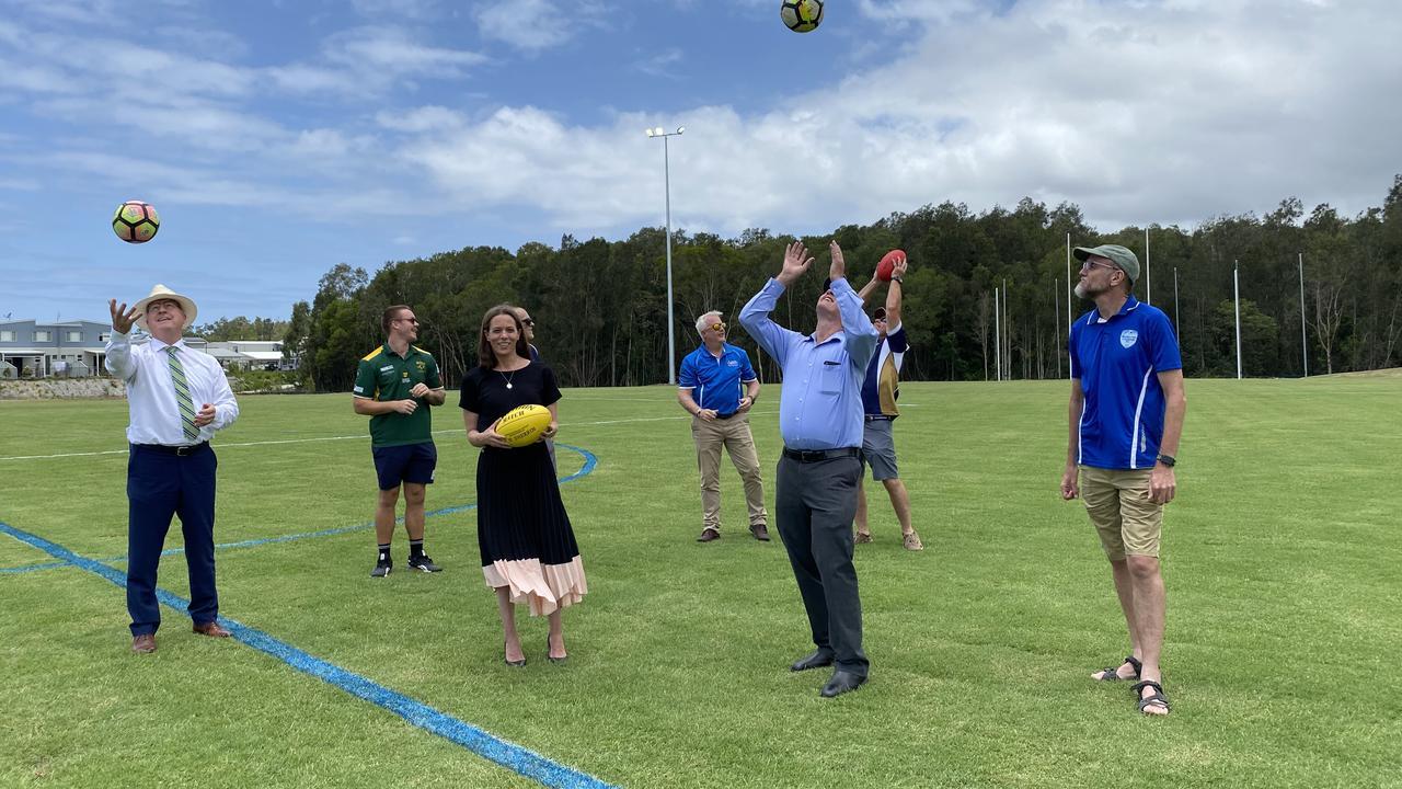 Sunshine Coast Mayor Mark Jamieson celebrates the official opening of the upgrade Maroochydore Multi-Sports Complex.
