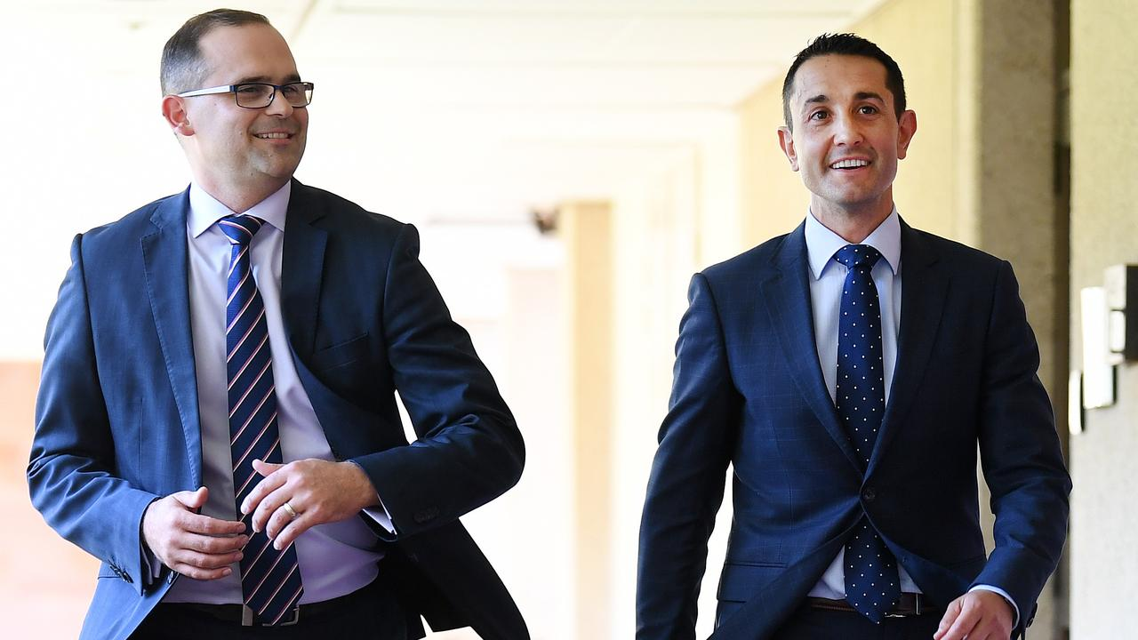 Queensland Opposition Leader David Crisafulli (right) and his deputy David Janetzki. Picture: Dan Peled/NCA NewsWire