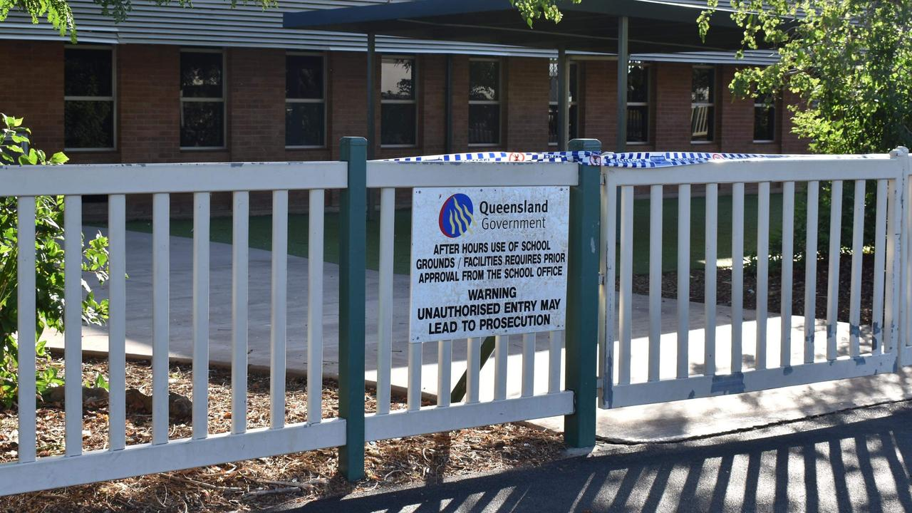 Rockhampton State School entrance cordoned off with police tape.