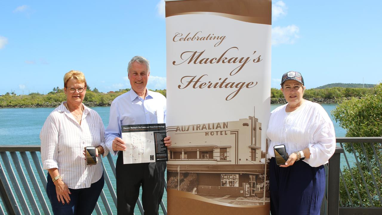 Deputy Mayor Karen May, Mayor Greg Williamson and Cr Fran Mann show off the Mackay Heritage Discovery Trails in app and hard-copy format. Picture: Lyneale Thrupp