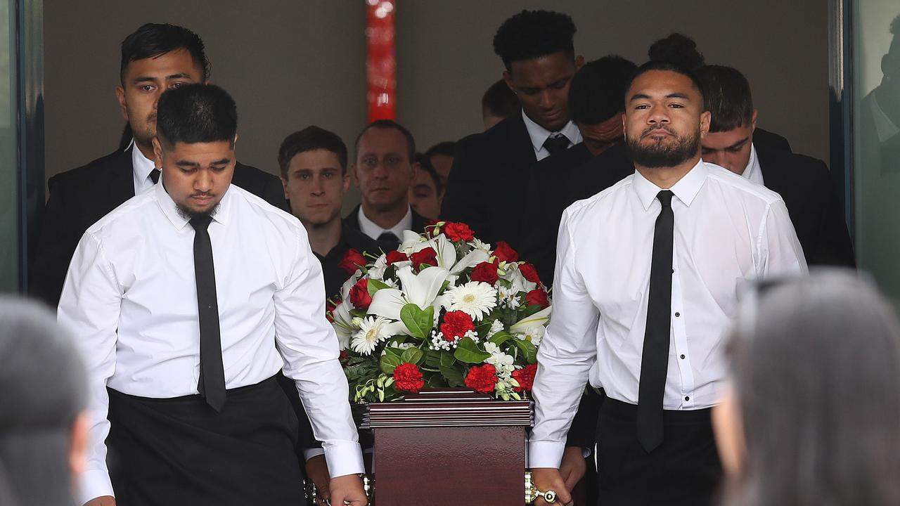 Friends and family at Keith Titmuss's funeral. Picture: Brett Costello