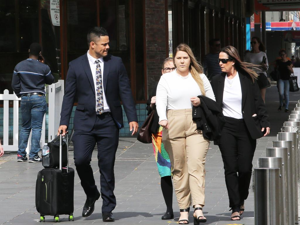 Jarryd Hayne arrives at Newcastle Court for closing arguments of his trial for sexual assault. Picture NCA NewsWire/Peter Lorimer