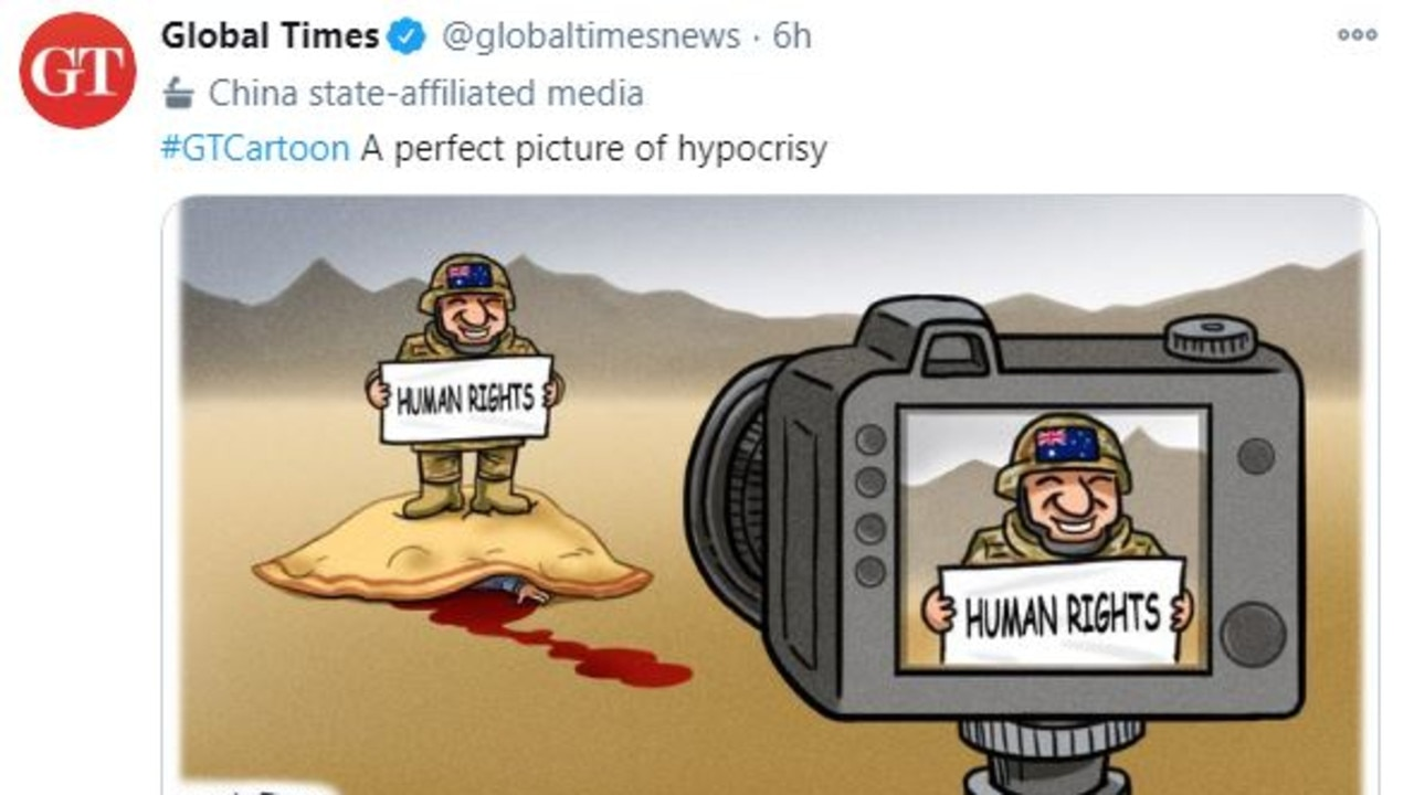 Another tweet and cartoon posted by the Chinese government mouthpiece publication.
