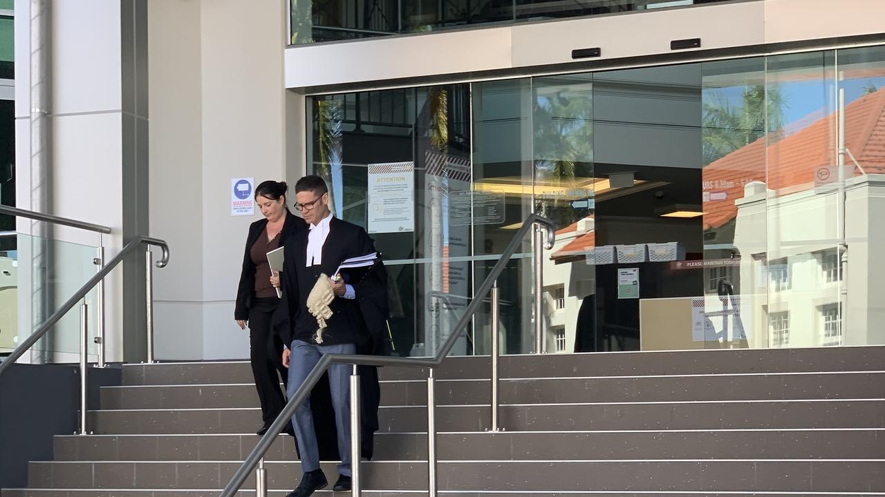The defence leaving the Rockhampton courthouse following the sentence of Anthony Lee Smits for the manslaughter of Andrew Vesey-Brown.