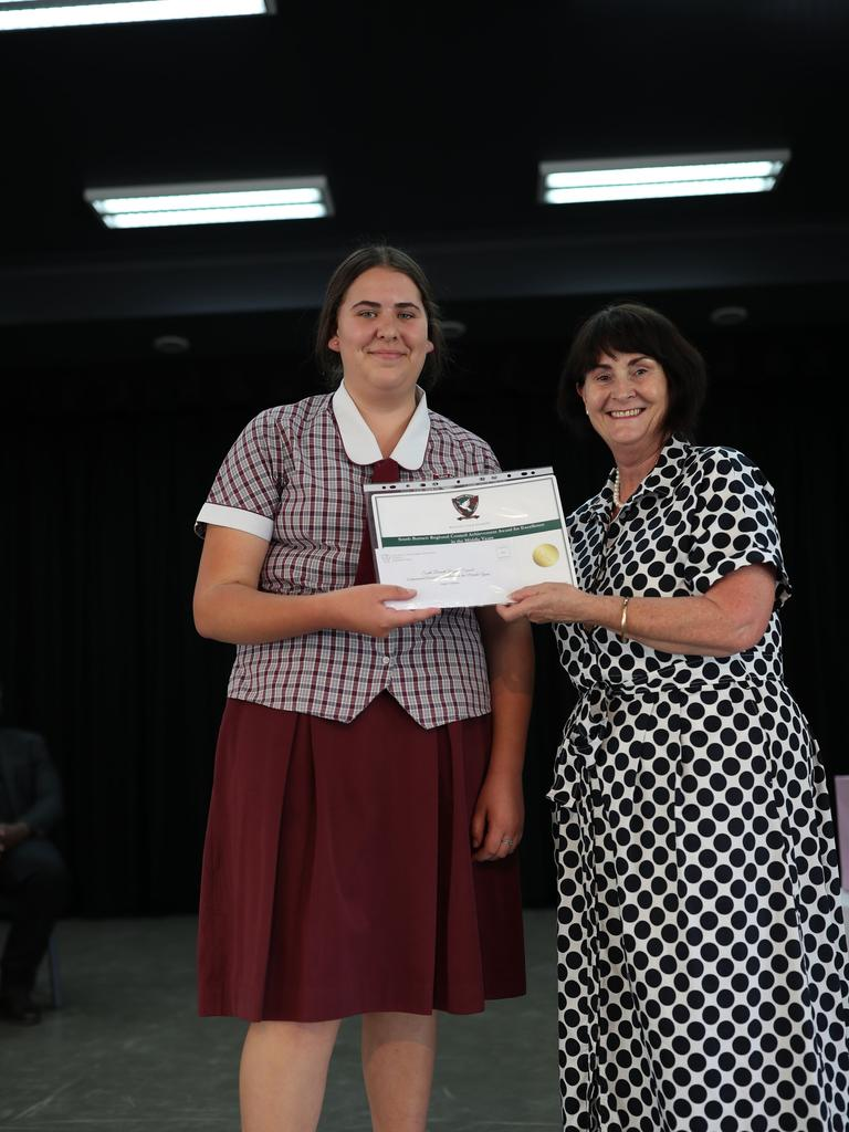 Teagan O'Sullivan, South Burnett Regional Council Achievement Award for Excellence in the Middle Years.