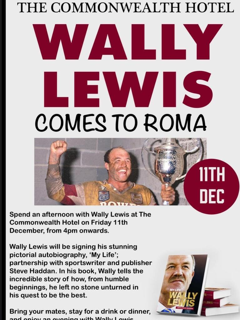 FOOTY LEGEND: Wally Lewis will be at The Commonwealth Hotel Friday, December 11!